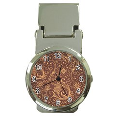 Gold And Brown Background Patterns Money Clip Watches