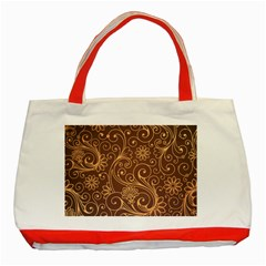 Gold And Brown Background Patterns Classic Tote Bag (red)