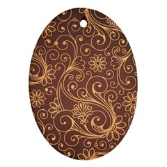 Gold And Brown Background Patterns Oval Ornament (two Sides)