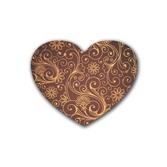 Gold And Brown Background Patterns Rubber Coaster (Heart)