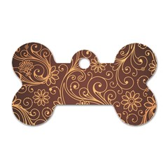 Gold And Brown Background Patterns Dog Tag Bone (one Side)
