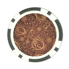 Gold And Brown Background Patterns Poker Chip Card Guard