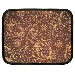 Gold And Brown Background Patterns Netbook Case (large)