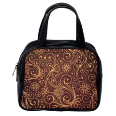 Gold And Brown Background Patterns Classic Handbags (one Side)