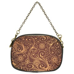 Gold And Brown Background Patterns Chain Purses (Two Sides)