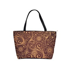 Gold And Brown Background Patterns Shoulder Handbags