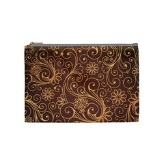 Gold And Brown Background Patterns Cosmetic Bag (Medium)