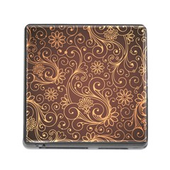 Gold And Brown Background Patterns Memory Card Reader (square)