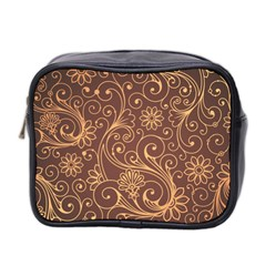 Gold And Brown Background Patterns Mini Toiletries Bag 2-Side