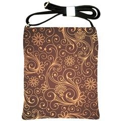 Gold And Brown Background Patterns Shoulder Sling Bags