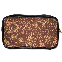 Gold And Brown Background Patterns Toiletries Bags 2-Side