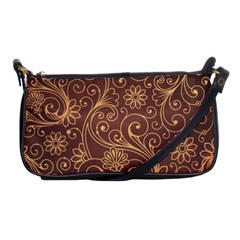 Gold And Brown Background Patterns Shoulder Clutch Bags