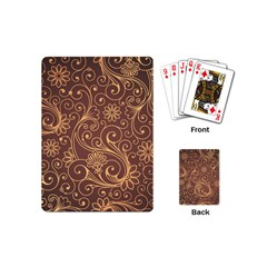 Gold And Brown Background Patterns Playing Cards (mini)