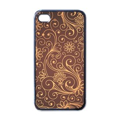 Gold And Brown Background Patterns Apple Iphone 4 Case (black)