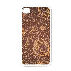 Gold And Brown Background Patterns Apple iPhone 4 Case (White)