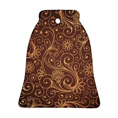 Gold And Brown Background Patterns Bell Ornament (two Sides)