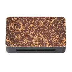 Gold And Brown Background Patterns Memory Card Reader With Cf