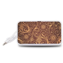 Gold And Brown Background Patterns Portable Speaker (White)