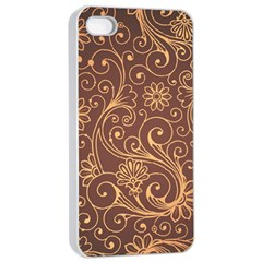 Gold And Brown Background Patterns Apple iPhone 4/4s Seamless Case (White)