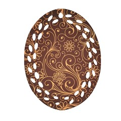 Gold And Brown Background Patterns Ornament (oval Filigree)