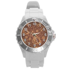 Gold And Brown Background Patterns Round Plastic Sport Watch (l)