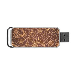 Gold And Brown Background Patterns Portable USB Flash (Two Sides)