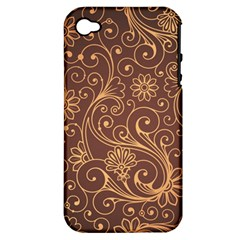 Gold And Brown Background Patterns Apple Iphone 4/4s Hardshell Case (pc+silicone)