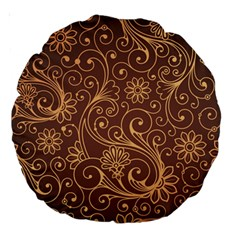 Gold And Brown Background Patterns Large 18  Premium Round Cushions