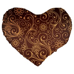 Gold And Brown Background Patterns Large 19  Premium Heart Shape Cushions