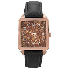 Gold And Brown Background Patterns Rose Gold Leather Watch