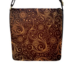 Gold And Brown Background Patterns Flap Messenger Bag (l)