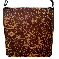 Gold And Brown Background Patterns Flap Messenger Bag (s)