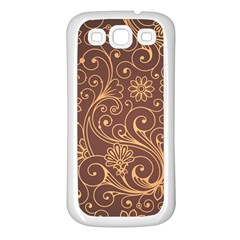 Gold And Brown Background Patterns Samsung Galaxy S3 Back Case (white)
