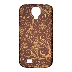 Gold And Brown Background Patterns Samsung Galaxy S4 Classic Hardshell Case (pc+silicone)