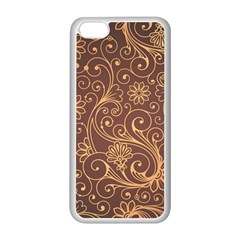 Gold And Brown Background Patterns Apple Iphone 5c Seamless Case (white)