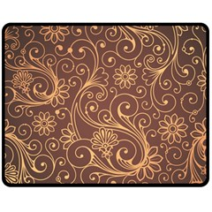 Gold And Brown Background Patterns Double Sided Fleece Blanket (medium)