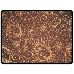 Gold And Brown Background Patterns Double Sided Fleece Blanket (large)