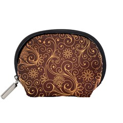 Gold And Brown Background Patterns Accessory Pouches (small)