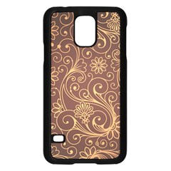 Gold And Brown Background Patterns Samsung Galaxy S5 Case (black)