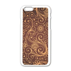 Gold And Brown Background Patterns Apple Iphone 6/6s White Enamel Case