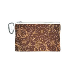 Gold And Brown Background Patterns Canvas Cosmetic Bag (S)
