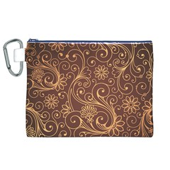Gold And Brown Background Patterns Canvas Cosmetic Bag (XL)
