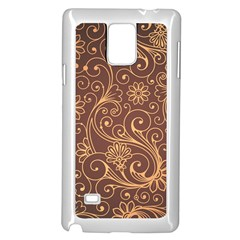 Gold And Brown Background Patterns Samsung Galaxy Note 4 Case (white)
