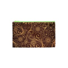 Gold And Brown Background Patterns Cosmetic Bag (xs)