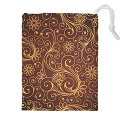 Gold And Brown Background Patterns Drawstring Pouches (XXL)