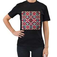 Beautiful Art Pattern Women s T Shirt (black) (two Sided)