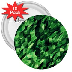 Green Attack 3  Buttons (10 pack)