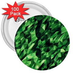 Green Attack 3  Buttons (100 Pack)