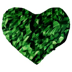 Green Attack Large 19  Premium Flano Heart Shape Cushions