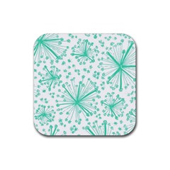 Pattern Floralgreen Rubber Square Coaster (4 Pack)